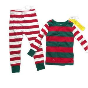 Old Navy Striped Pajamas 2T NWT green red white